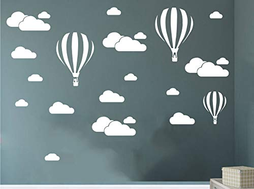 Melissalove White Clouds & Hot Air Balloons Nursery Kids Childs Room Vinyl Wall Art Sticker Baby Wall Decals Removable Waterproof Wallpaper D952 (White)