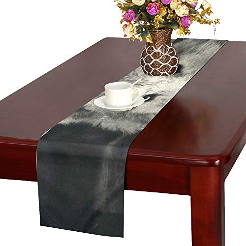 AIKENING Awesome Halloween Wallpaper with Mystical Wolf Table Runner, Kitchen Dining Table Runner 16 X 72 Inch for Dinner Parties, Events, Decor]()