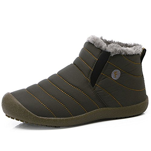 COOLCEPT Unisex Adulto Stivali Neve Inverno Scarpe Pull On Men Grey