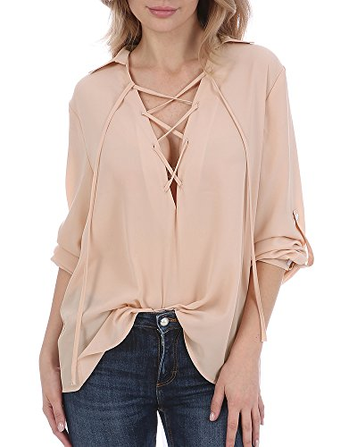 Youxiua Womens Deep V Neck Tops 3/4 Sleeve Lace up Summer Loose Criss Cross Tunics Blouse