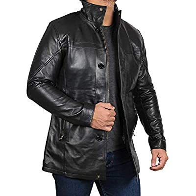 Mens Leather Jacket - Black Real Lambskin Leather Jackets for Mens at  Men's Clothing store