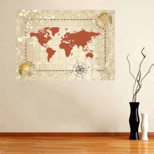 Rustic World Map Fabric Wall Decal, Wall Art Reusable, Reposionable,Removable (Rust)
