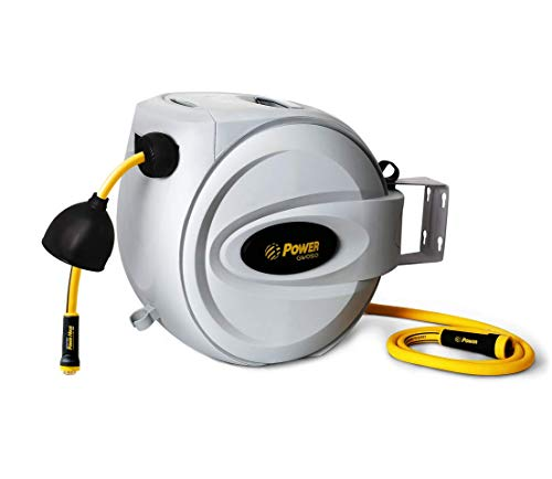 """Power Retractable Hose Reel 5/8"""" x 50 + 6 FT, Super Heavy Duty, 500 PSI Burst Strength, 3 Layer Hybrid Hose, Slow Return System, Exclusive Twist Collar and The Patented Nozzle Protector ()"""