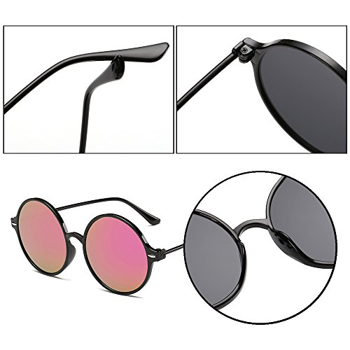 Cadre réfléchissantes Noir style soleil rondes de Dintang femmes steampunk de lunettes Rose Lunettes cadre rétro lunettes soleil Lentille Mesdames et af7qTZ