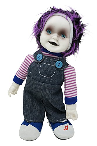Animated Zombie Doll with Sound Creepy Standing Halloween Decoration (Purple)