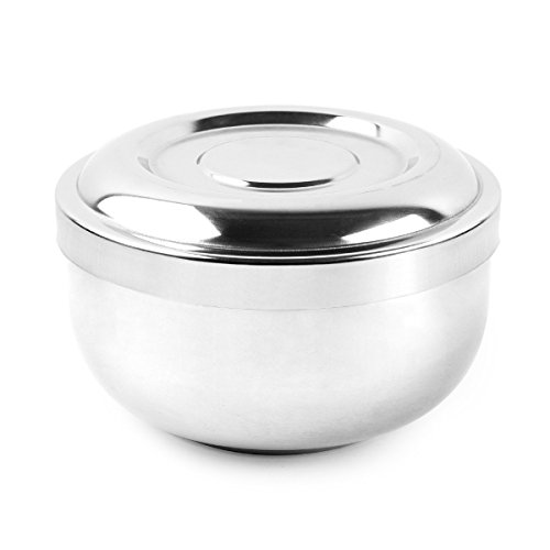 Men's Durable Shave Soap Cup Shining with Lid 4 Inch Diameter Large Deep Size Chrome Plated Shinning Finish Stainless Steel Heat Insulation Smooth (Brass Ox Plated)