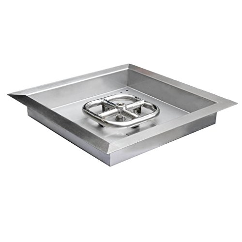 Onlyfire Square Stainless Steel Drop-in Fire Pit Burner Ring and Pan ()