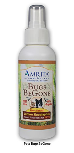 Amrita Bugs BeGone - Natural Insect Repellent Spray for Pets - Repels Mosquitoes, Fleas, Ticks & Chiggers - DEET Free - Made with Organic Essential oils - 4oz Aromatherapy