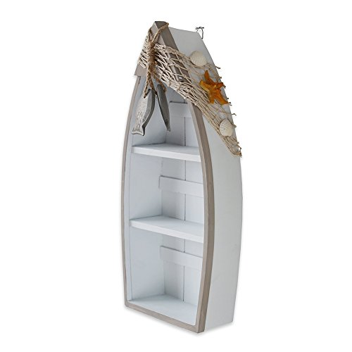 """YK Decor 16.5""""H Wooden Boat Display with 3 Shelves Fish Net Star Fish, White Wood Boat Stand Beach Nautical Theme Decor"""