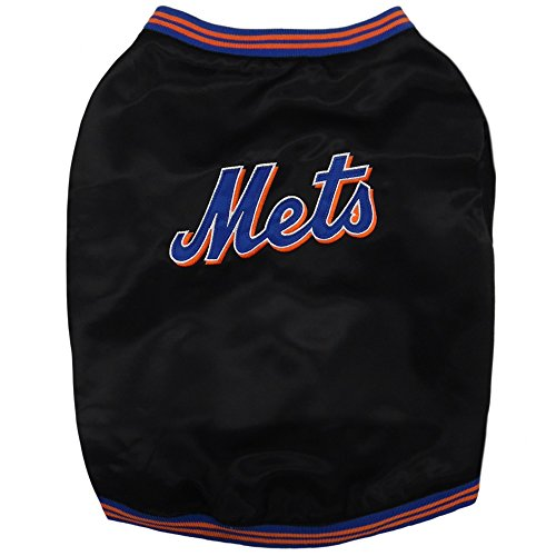 Pets First Official New York Mets Dugout Jacket, Large, Orange/Blue