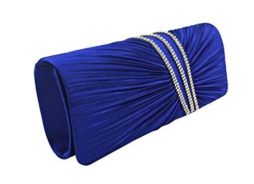 AITING Womens Satin Diamante Pleated Evening Clutch Bag Bridal Handbag Prom Purse (Blue-1)