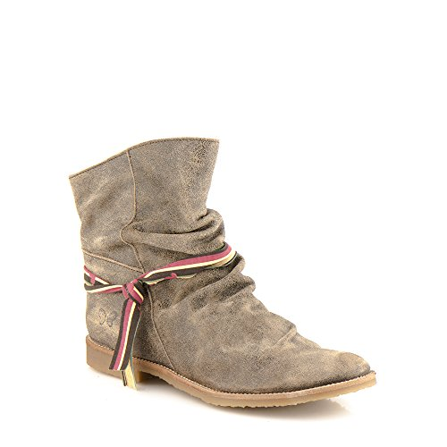 Felmini - Zapatos para Mujer - Enamorarse com Clash 8114 - Botas Cowboy & Biker - Cuero Genuino - Marrone Marrone