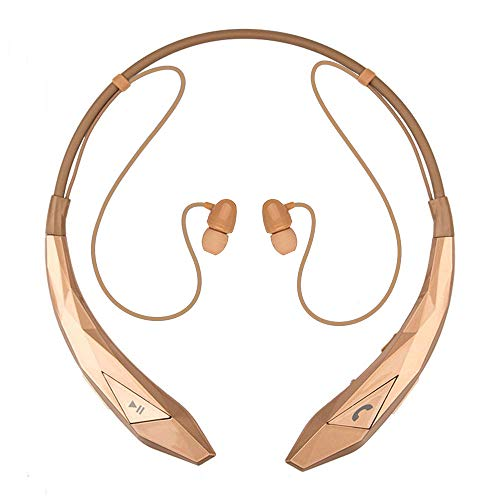 Bluetooth Wireless Stereo Headset Wireless Earbuds Neckband Headphones with Mic Noise Cancelling for Cell Phone/Tablets/TV Gold