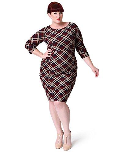 60s Clothes Mod - Unique Vintage Plus Size 1960s Style Red Plaid Long Sleeve Mod Wiggle Dress