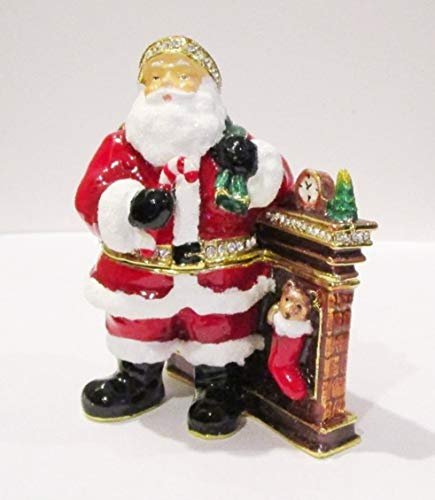 - Kubla Santa Claus by Fireplace Jeweled Hinged Enamel Trinket Box Collectible
