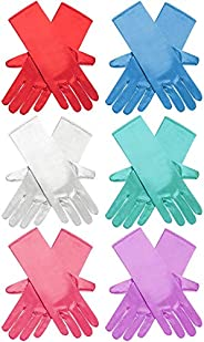 Allure Maek 6 Pairs Princess Dress Up Long Gloves Shiny Silky Satin Gloves for Kids Party, Wedding, Formal Pag