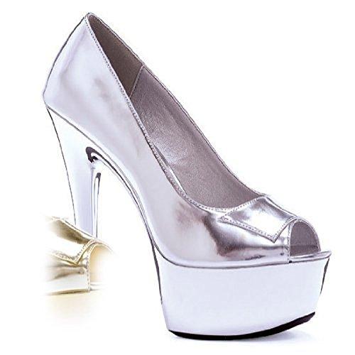Ellie Aperta Argento Sexy Women's Shoes Con Tacco Classico Alto Platform Punta UawRrvqU