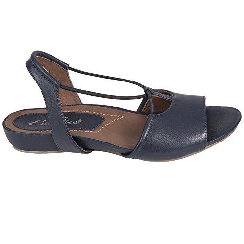 sko; lær; syntetisk såle; fast; åpen-tå. Earthies Kvinners Lacona Sandal  Navy ...