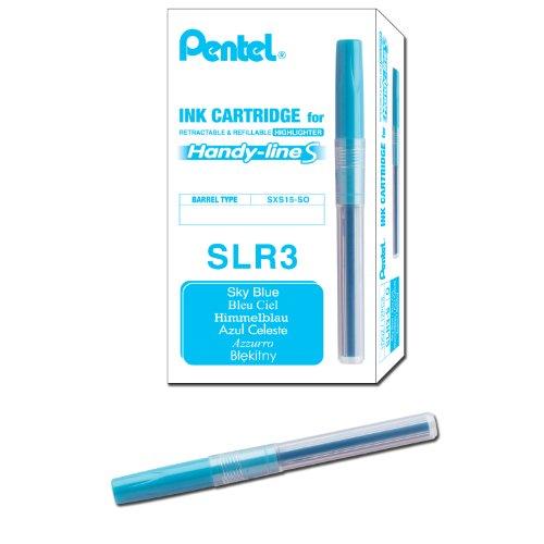 Pentel Refill for Handy-Line S Highlighter, Sky Blue Ink, Box of 12 (SLR3-S)