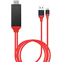 Kimwing Upgrade Lightning Digital AV Adapter for iPhone/iPad/iPod, No Need Personal Hotspot, Wi-Fi, Setup - Red