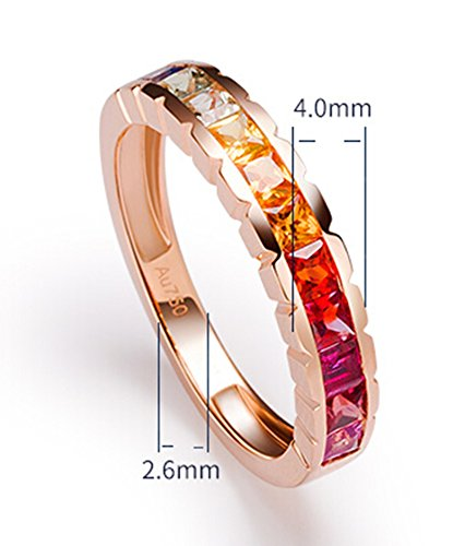 18K Gold Ring,1.2Ct Square Cut Certified Diamond Colorful Sapphire Ruby Promise Ring for Women Size 8 by Epinki (Image #3)