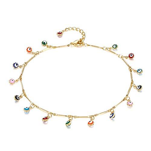 - Evile Eye Anklet,14K Gold Plated Cute Tassel Evile Eye Summer Ankle Bracelet Boho Beach Foot Chain