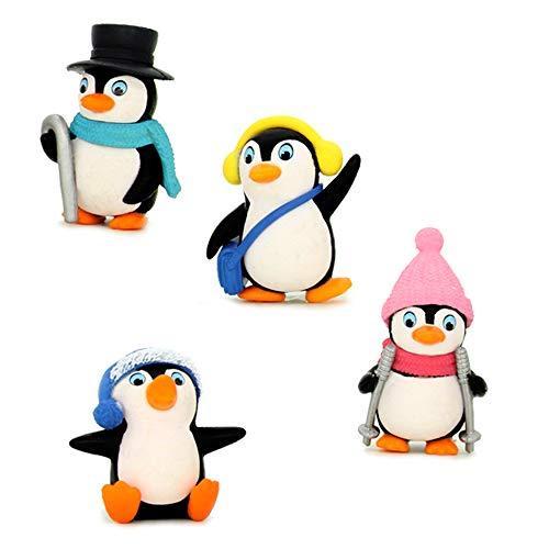 (TangTanger 4 pcs Kawaii Animal Penguin Characters Toys Mini Figure Collection Playset, Cake Topper, Plant, Automobile decoration)
