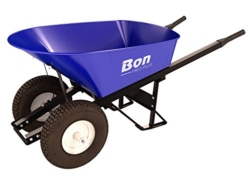 Bon 28 901 Premium Contractor Grade Steel Double Wheel Wheelbarrow with Steel Hande and Knobby Tire, 6 Cubic Feet ()