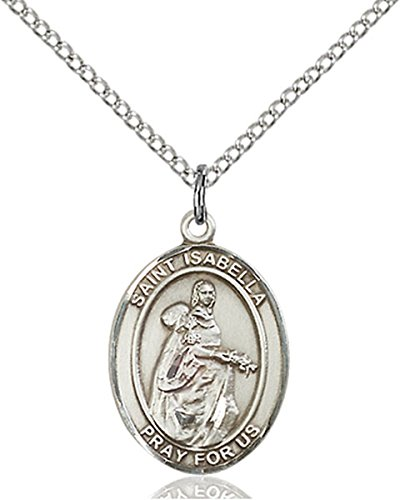 Sterling Silver Saint Isabella of Portugal Medal Pendant, 3/4 Inch