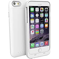 Battery Case for iPhone 6 Plus/6s Plus, Apple MFi Certified Case Cover, SmartElite External Rechargeable Protective Portable Power Bank Charging Case with 4000mAh Capacity for iPhone 6 Plus (WHITE)