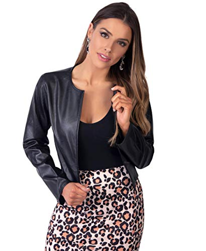 Krisp Women PU Leather Cropped Jacket Long Sleeve Bolero[4432-BLK-XL] - Blazer Women Leather