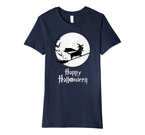 Womens Witch BASSET HOUND Dog Funny Halloween Costume T-Shirt XL Navy -
