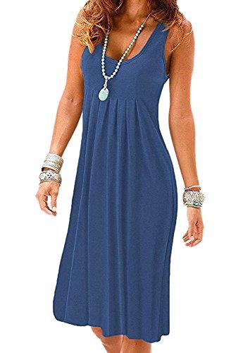 Camisunny Evening Party Homecoming Dresses for Women Crew Neck Sleeveless Tunic Dress Size (Crew Neck Sleeveless Women Dress)