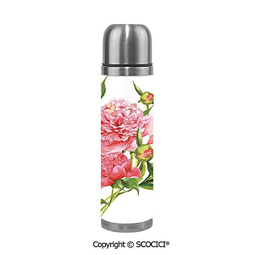 Beer Cookie Bouquet - Travel Mug Thermos Food Grade Water Bottle Pink Peonies With Strong Green Leaves Ecology Flourish Nature Inspired Bouquet Insulation Cup Leak Proof No Spill Lid Thermoses 500 ML