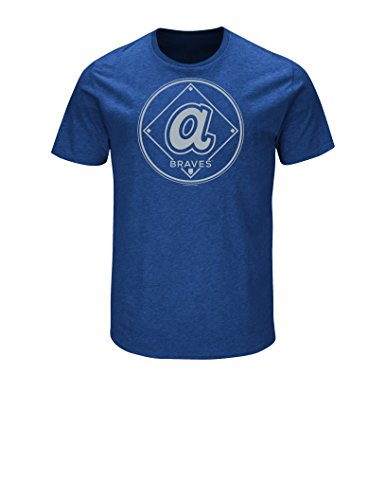 MLB Atlanta Braves 1974 Cooperstown Men's Great View Tee, Royal Heather, Medium