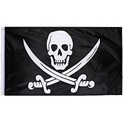 Hestya Jolly Roger Pirate Flag for Pirate Day, Halloween Party, Pirate Themed Party, Birthday Party, 1 Pack, 3 by 5 Feet
