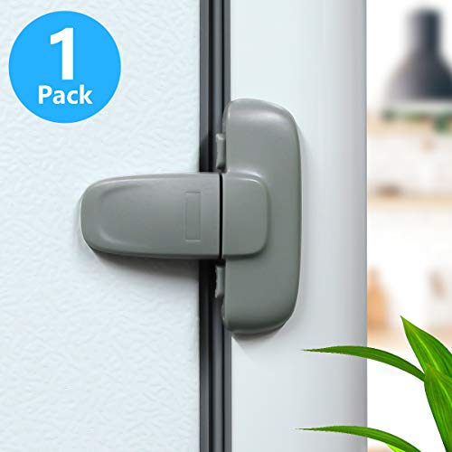 Home Refrigerator Fridge Freezer Door Lock, Latch Catch Toddler Kids Child Fridge Locks Baby Safety Child Lock, Easy to Install and Use 3M Adhesive no Tools Need or Drill(1 Pack, Grey)