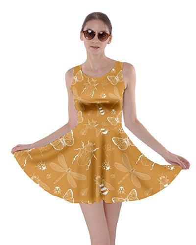 Skater Watercolor XS Dragonfly Butterfly Insect Womens Yellow Insect 5XL Bugs Dress Beetles CowCow Butterflies Bee 1xzBnFfF