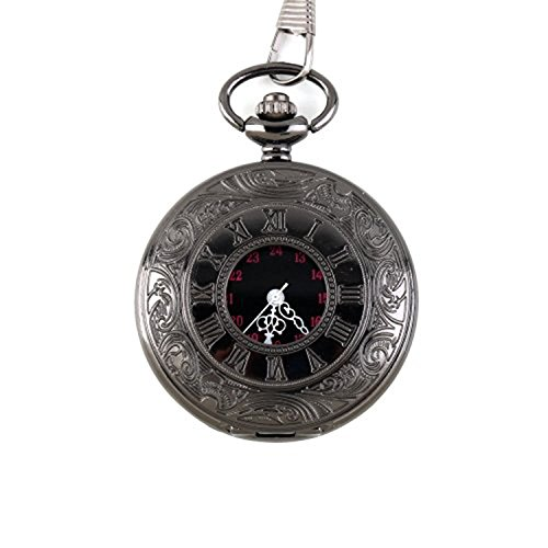 7667f9d7b MJSCPHBJK Black Pocket Watch Roman Pattern Steampunk Retro Vintage Quartz  Roman Numerals Pocket Watch (Black1