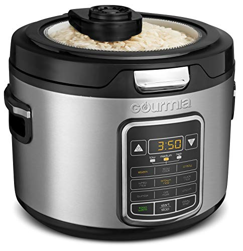 Gourmia GRC970 11-in-1 Digital 20-Cup Rice Cooker - Clear Glass Lid For Easy Viewing - Steam Tray - Delay Timer - Touch Controls - Stainless Steel Exterior - Recipe Book Included