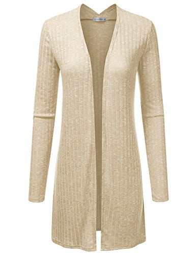 JJ Perfection Women's Long Sleeve Open Front Marled Knitted Cardigan Sweater Stone XL (Sweater Cover)