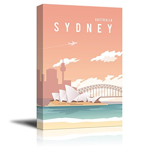 wall26 - Canvas Wall Art - Sydney Australlia Travel Illustration Canvas Art - Giclee Print Gallery Wrap Modern Home Decor Ready to Hang - 24x36 inches -