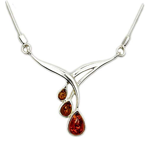 Falling Leaves' Sterling Silver Natural Honey Baltic Amber Necklace