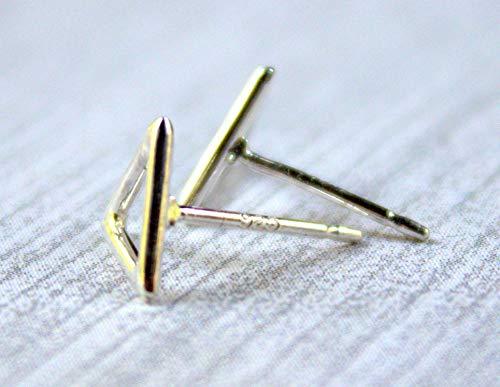 Geometric Triangle Stud Earrings, 925 Sterling Silver Small Modern Stud Earrings