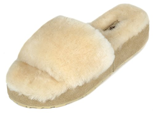 DREAM PAIRS Womens Bliz Sheepskin Fur Mules Fluffy Comfy Slippers Natural-01 adZ1xmLoc