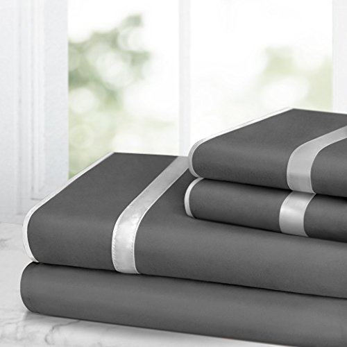 Egyptian Luxury Bed Sheet Set – 1500 Hotel Collection w/ Beautiful Satin Band Trim - Ultra Soft Wrinkle & Fade Resistant Microfiber, Hypoallergenic 4 Piece Set- Full - Gray/Light Gray (Sheet Woven Satin Sets)