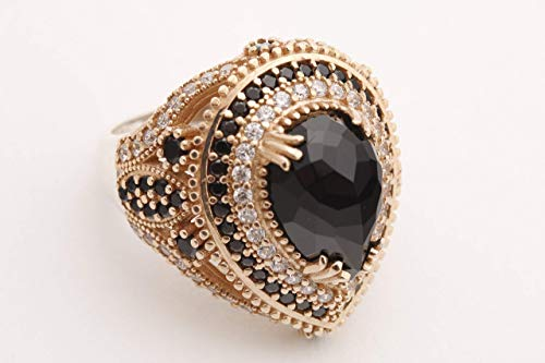 - Turkish Handmade Jewelry Drop Shape Pear Cut Black Onyx and Round Cut Topaz 925 Sterling Silver Ring Size Options