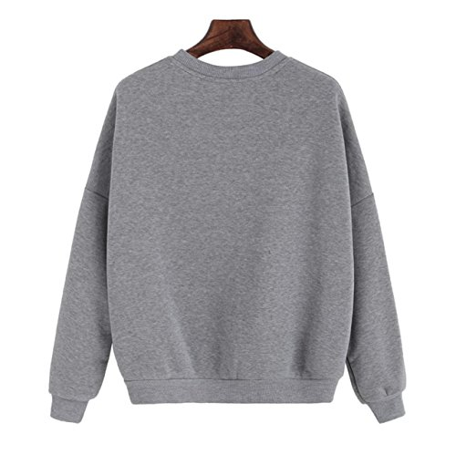 Sweatshirt Longues Femmes lache Manches Gris Filles Impression Lettre CYBERRY M Pullover Casual Outwear In05Y