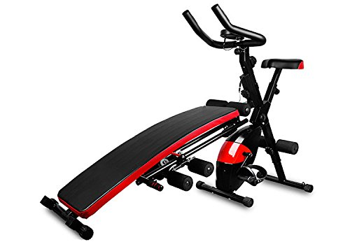 Multi Functional Home Fitness Machine Core Toning Exercise Equipment, 7 in 1, AB Glider, Exercise Bench, Exercise Bike, LCD Display, and Pulse Reader