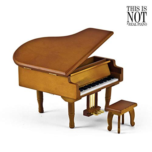 MusicBoxAttic Incredible Wood Tone Miniature Replica Of A Baby Grand Piano With Bench - Over 400 Song Choices - Feliz Navidad